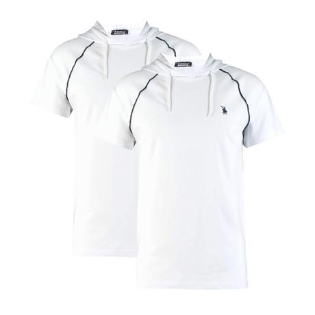 Pack of 2 // Hoodie Shirt // White + White (Small)