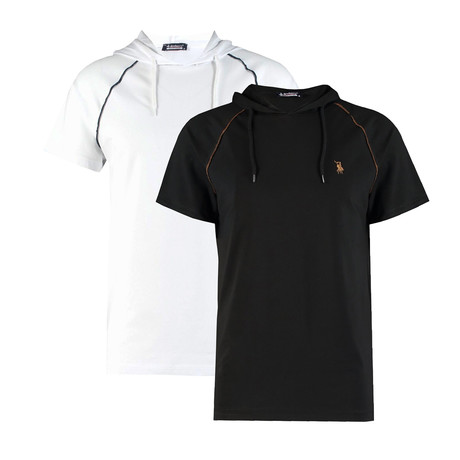 Pack of 2 // Hoodie Shirt // White + Black (Small)