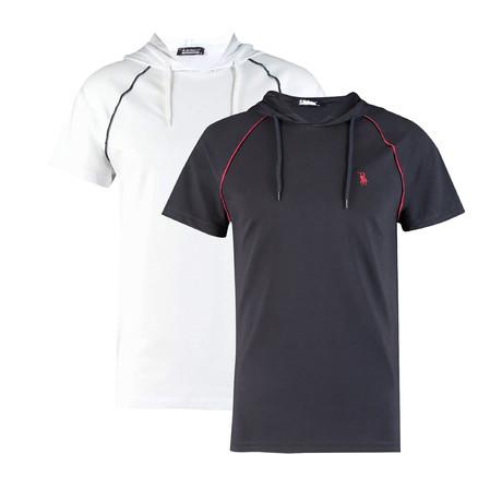 Pack of 2 // Hoodie Shirt // White + Dark Blue (Small)