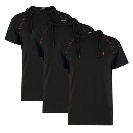 Pack of 3 // Hoodie Shirt // Black + Black + Black (Small)
