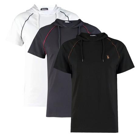 Pack of 3 // Hoodie Shirt // Black + White + Dark Blue (Small)