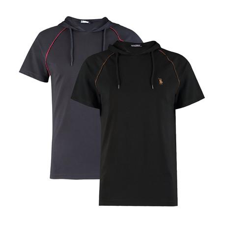 Pack of 2 // Hoodie Shirt // Dark Blue + Black (Small)