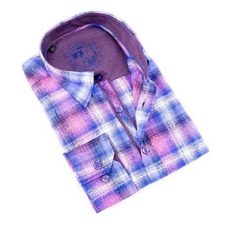 Floral Plaid Button-Up Shirt // Pink (S)