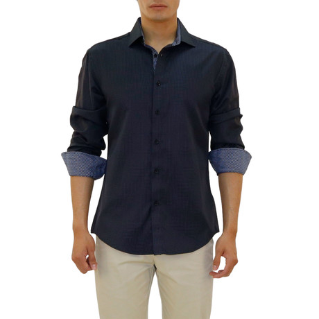 Mason Long Sleeve Button Up Shirt // Navy (XS)