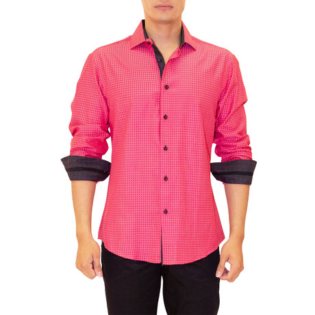 Francesco Long Sleeve Button Up Shirt // Red (XS)