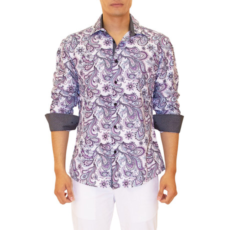 Coolidge Long Sleeve Button Up Shirt // White + Purple (XS)