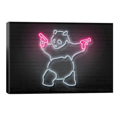 """Panda With Guns // Octavian Mielu (26""""W x 40""""H x 1.5""""D)"""