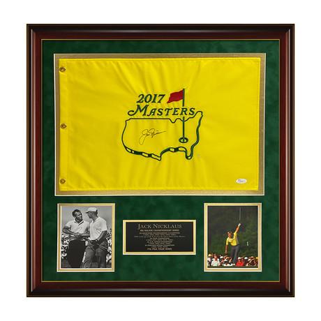 Jack Nicklaus // 2017 Masters Pin Flag // Signed // Framed