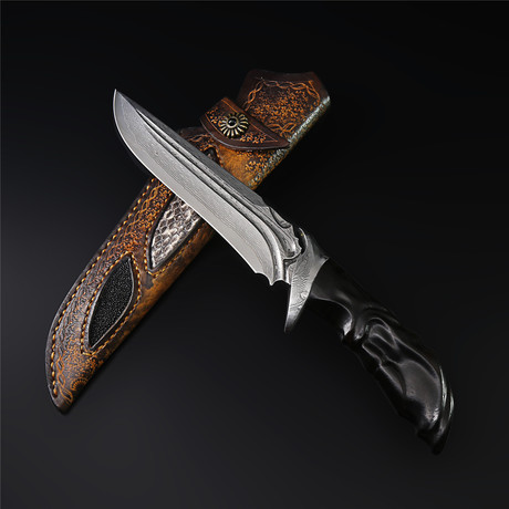 The Zither Damascus Steel Fixed Blade