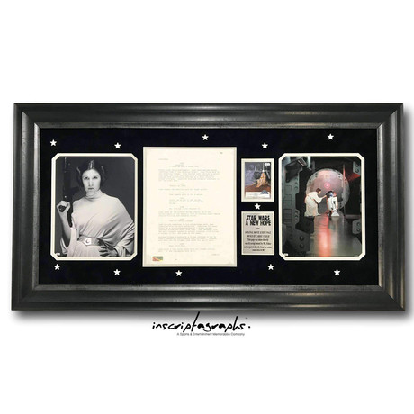 Carrie Fisher // Personally-Owned Original Star Wars New Hope Script Page // Framed // Limited Edition
