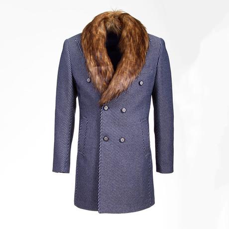Portland Wool Coat // Dark Blue + Gray (Euro: 46)