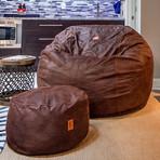 Convertible Bean Bag Chair // Cowhide // Coffee (Full)