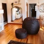 Convertible Pillow Pod Footstool // Cowhide (Black)