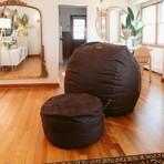 Convertible Bean Bag Chair // Cowhide // Black (Full)