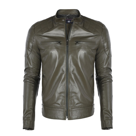 Florence Leather Jacket // Khaki (S)