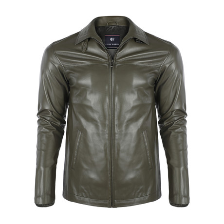 Marvin Leather Jacket // Khaki (S)