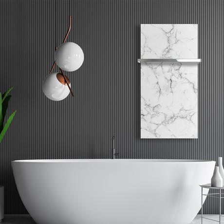 "Signature Series Glass Heater + Towel Rack // White Marble (48""L x 16""W + 16"" Rack)"