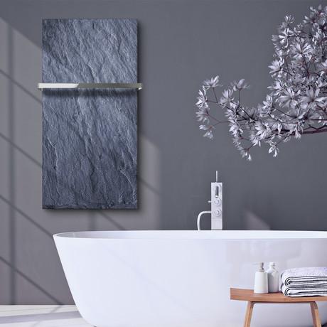 "Signature Series Glass Heater + Towel Rack // Slate (48""L x 16""W + 16"" Rack)"