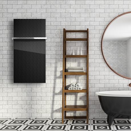 "Signature Series Glass Heater + Towel Rack // Black Velvet (48""L x 16""W + 16"" Rack)"