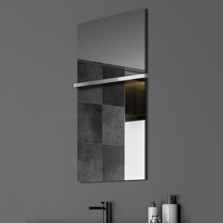 """Signature Series Glass Heater + Towel Rack // Mirror (48""""L x 16""""W + 16"""" Rack)"""