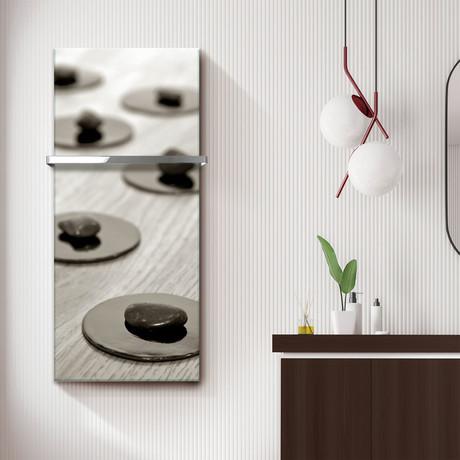"""Signature Series Glass Heater + Towel Rack // Zen Stones (48""""L x 16""""W + 16"""" Rack)"""