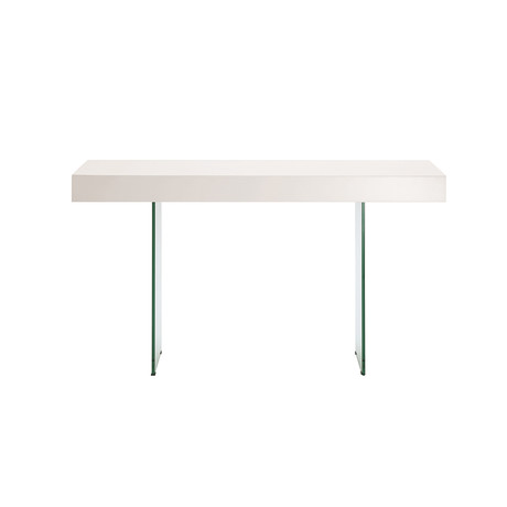 Genesis Console Table // High Gloss White Lacquer + Clear Glass