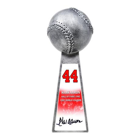 "Hank Aaron // Signed Baseball World Champion Trophy // Silver // 14"" Replica"