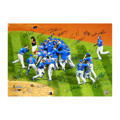 2016 Chicago Cubs Team // Signed 2016 World Series Celebration Photo // 16x20 // 24 Signatures