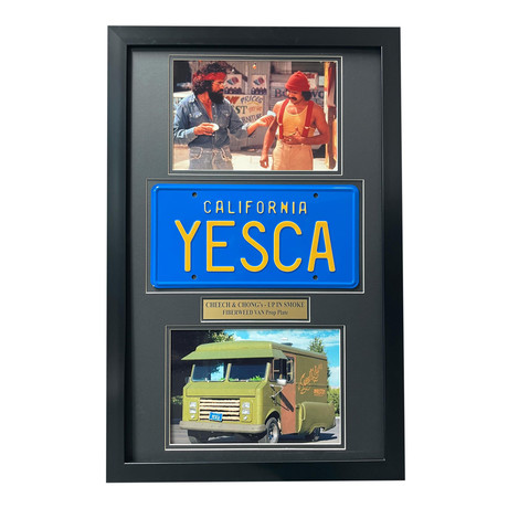 """""""Up In Smoke"""" // Cheech & Chong's Fiberweed Van License Plate // Framed Collage"""