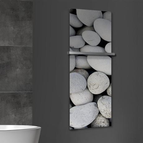 "Signature Series Glass Heater + Towel Rack // River Stones (48""L x 16""W + 16"" Rack)"