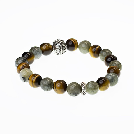 Dell Arte // Tanzanian Rainbow Obsidian Bead Bracelet // Green + Brown