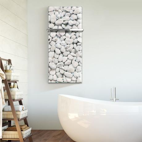 "Signature Series Glass Heater + Towel Rack // White Rock Pebbles (48""L x 16""W + 16"" Rack)"