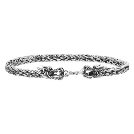 Men's Woven Chain Dragon Bracelet // Silver