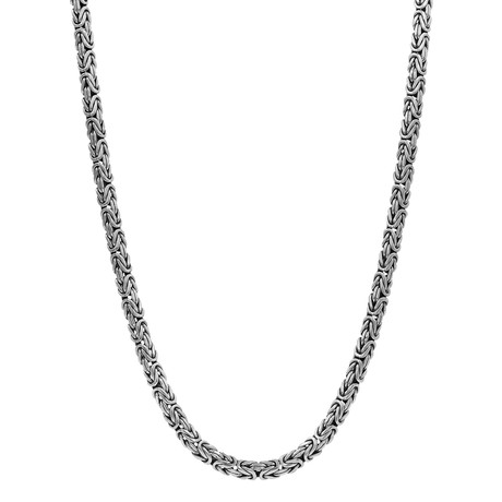 Men's Oval Byzantine Necklace // Silver