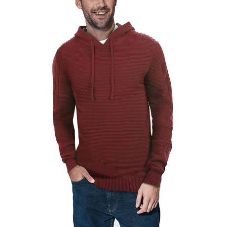 Ribbed Pullover Hooded Sweater // Burgundy (S)