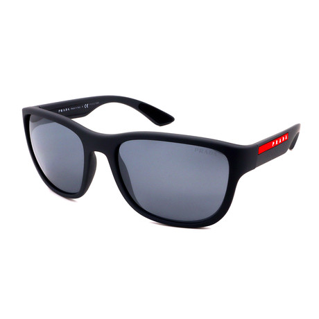 Prada // Men's PS01US-UFKL0 Logo Sunglasses // Matte Black + Red