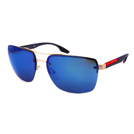 Prada // Men's PS60US-QFP9P1 Sunglasses // Silver + Blue Mirror