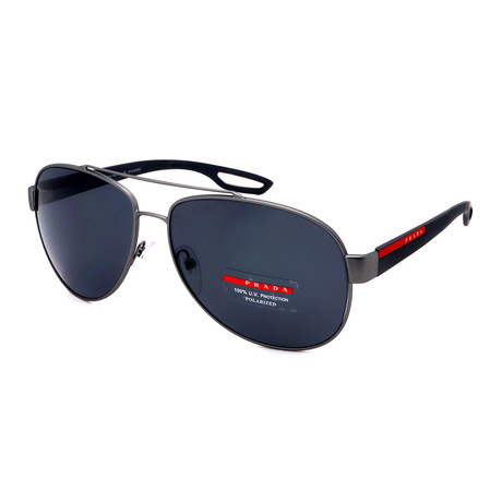 Prada // Men's PS55QS-DG15Z1 Sunglasses // Black + Gunmetal + Grey