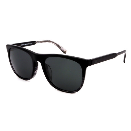 Emporio Armani // Men's EA4099-55668756 Sunglasses // Black + Gray Stripe