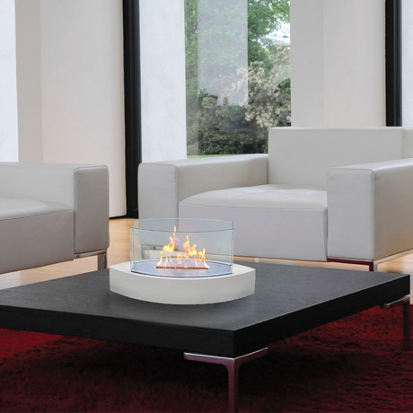 Anywhere Fireplace Lexington // Indoor/Outdoor Tabletop Fireplace + 6-Pack SmartFuel (Beige)