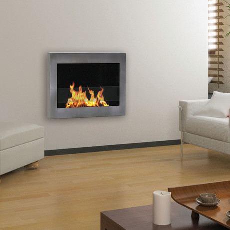 Anywhere Fireplace SoHo // Indoor Wall Mount Fireplace +  6-Pack SmartFuel (White)