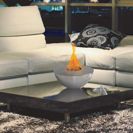 Anywhere Fireplace Sutton // Indoor/Outdoor Fireplace + 12-Pack SunJel Fuel (Stainless Steel)