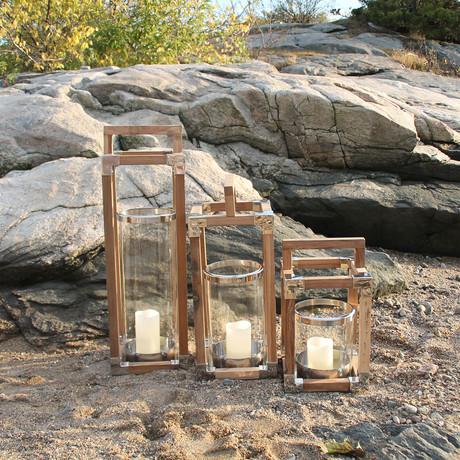 "Anywhere Fireplace // Southampton Teak Wood Lantern (16"")"