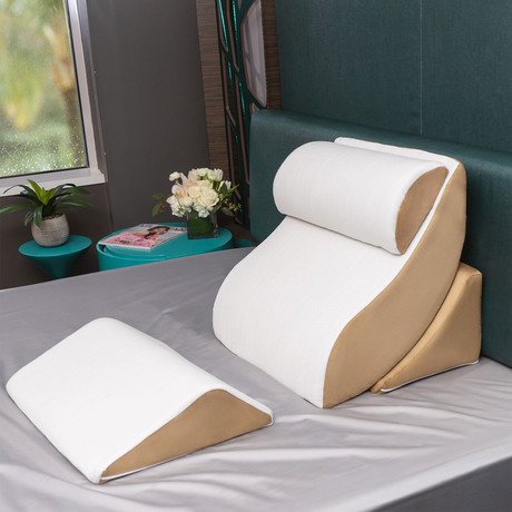 Kind Bed Comfort System Set // Orthopedic Support Pillow // 4 Piece Set (White + Camel // Bamboo-Rayon Cover)