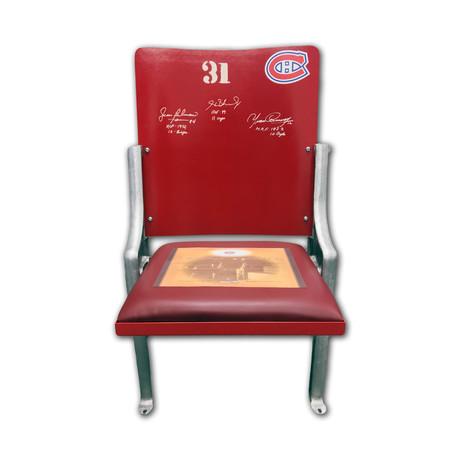 Beliveau + Richard + Cournoyer // Signed Montreal Canadiens Forum Seat