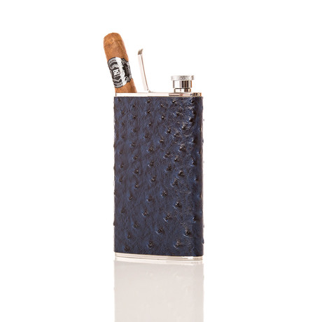 The Wingman Flask + Cigar Holder (Silver Ostrich)