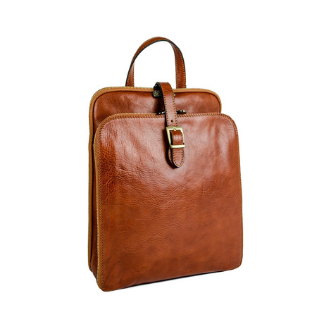 Clarissa // Women's Convertible Leather Backpack // Light Brown