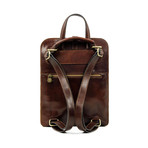 Clarissa // Women's Convertible Leather Backpack // Brown