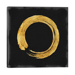 "Gold Zen Circle On Black I // Ellie Roberts (26""W x 26""H x 1.5""D)"