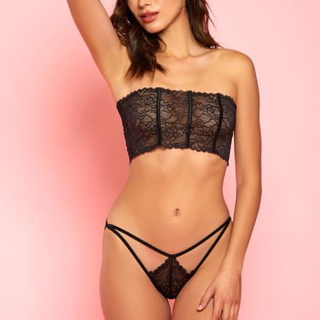 Hauty // Kendra Lace Bandeau Bra + Panty Set // Black